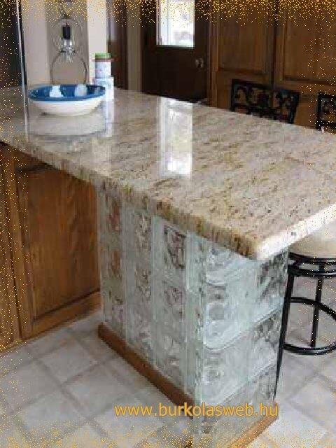 üvegtégla talp készítés konyha bútorhoz