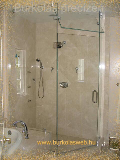 zuhanyfal üvegből